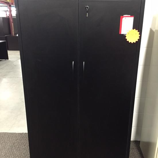 STORAGE CABINET BLACK WITH MAHOGANY