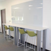 Chirp Stools, Trig Bar Table, Clarus Float Glassboard