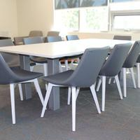 Trendway Trig Table and Encore Chirp Chairs